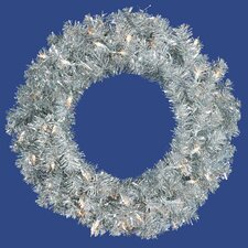 "24"" Lighted Artificial Sparkling Tinsel Christmas Wreath"