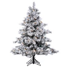 4.5' Flocked Alaskan Artificial Christmas Tree with Clear Lights