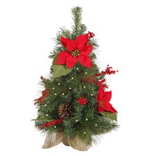 2' Poinsettia and Pine Cone Christmas Tree with Clear Lights