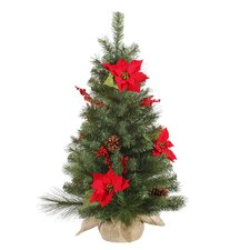 3' Poinsettia and Pine Cone Artificial Christmas Tree