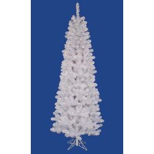 6.5' White Salem Artificial Pencil Christmas Tree- LED Warm Clear
