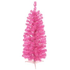 2' Sparkling Pink Pencil Artificial Christmas Tree with Pink Lights