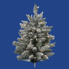 2' Flocked Sugar Pine Artificial Christmas Tree with Clear Lights