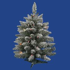 2' Flocked Sugar Pine Artificial Christmas Tree with Multi Lights