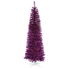 9'Purple Artificial Pencil Tinsel Christmas Tree with Purple Lights