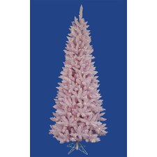 4.5' Flocked Pink Artificial Spruce Slim Christmas Tree with LED Clear Light