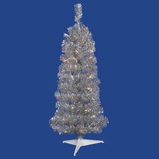 4.5' Silver Artificial Tinsel Pencil Christmas Tree with Clear Lights