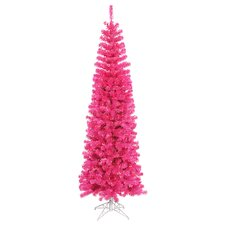 5.5' Sparkling Pink Artificial Pencil Christmas Tree with Pink Lights