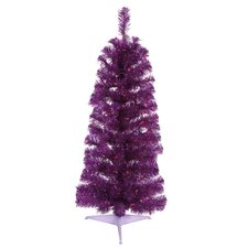 2' Purple Pencil Tinsel Artificial Christmas Tree with Purple Lights