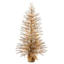 3' Champagne Artificial Christmas Tinsel Twig Tree with Clear Lights