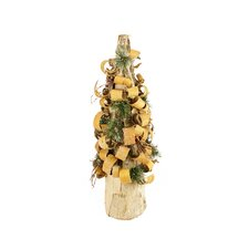 1.9' Rustic Bark Inspired Flocked Table Top Christmas Cone Tree