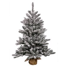 2' Flocked Anoka Pine Artificial Christmas Tree with Burlap Base with Clear Lights