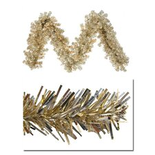 Champagne Artificial Tinsel Christmas Garland with Lights
