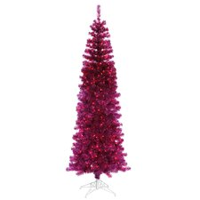 4.5' Fuchsia Purple Artificial Tinsel Christmas Tree with Pink Lights