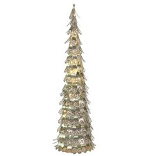Decorative Champagne Christmas Cone Tree Yard Art