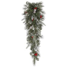 Frosted Pine Berry Artificial Christmas Teardrop Swag with Lights