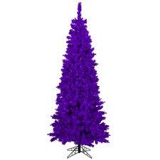 4.5' Purple Flocked Pine Slim Artificial Christmas Tree with Purple Lights
