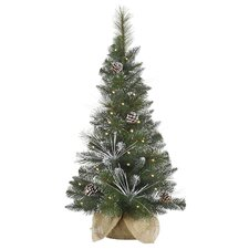 3' Flocked and Glittered Mixed Pine Christmas Tree with Clear Light