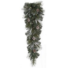 Frosted and Glittered Pine Cone Christmas Teardrop Swag with Lights