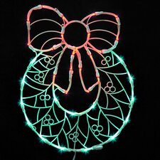 Lighted Wreath with Bow Christmas Window Silhouette Decoration