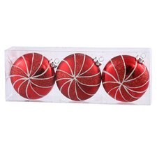 3ct Peppermint Twist Shatterproof Red Candy Swirl Christmas Ornaments 3.75""