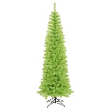9'Chartreuse Green Artificial Pencil Christmas Tree with Green Lights
