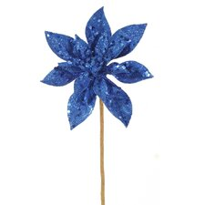 Lavish Glitter Poinsettia Flower Artificial Christmas Spray Pick