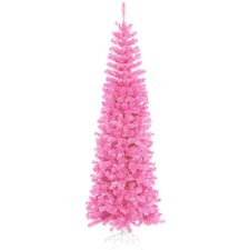 12' Hot Pink Artificial Pencil Tinsel Christmas Tree with Pink Lights
