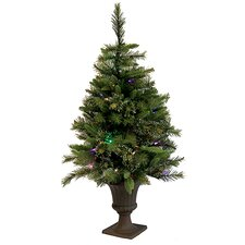 3.5' Mixed Pine Cashmere Potted Artificial Christmas Tree with LED Multi Light