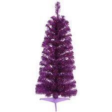 3' Purple Artificial Pencil Tinsel Christmas Tree with Purple Lights