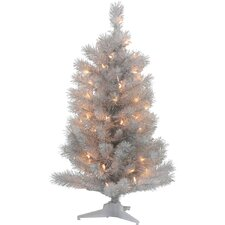 3' Silver White Pine Artificial Christmas Tree with Clear Light
