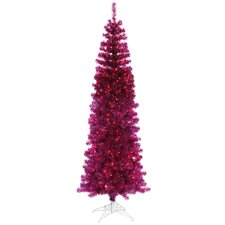 7.5' Fuchsia Artificial Tinsel Pencil Christmas Tree with Pink Lights