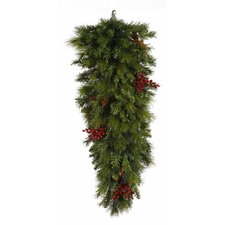 Mixed Pine with Berries and Cones Artificial Christmas Teardrop