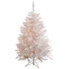 4.5' White Sparkle Spruce Artificial Christmas Tree with Clear Lights