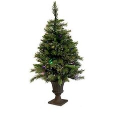 Cashmere 3.5' Green Pine Artificial Christmas Tree with 100 LED Multi-Colored Lights
