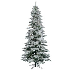 Flocked Utica Fir 6.5' White Artificial Christmas Tree with 275 Multicolored LED Lights with Stand
