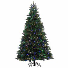 7.5' Green Spruce Artificial Christmas Tree with 800 LED Multi-Colored Lights with Stand