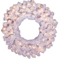 "24"" Lighted Artificial Crystal Spruce Christmas Wreath"