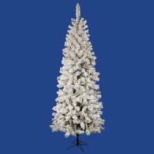 Flocked Pacific Pine 6.5' White Artificial Pencil Christmas Tree with 300 Clear Lights with Stand