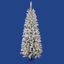 6.5' White Pacific Pine Artificial Christmas Tree with 300 Multi-Colored Lights and Flocked Branches with Stand