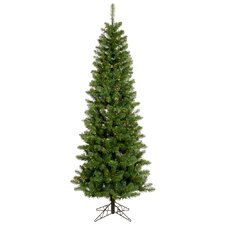 Salem Pencil Pine 7.5' Green Artificial Christmas Tree with 275 Multicolored LED Lights with Stand