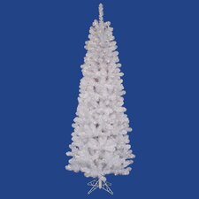 White Salem Pencil Pine 9.5' Artificial Christmas Tree with 600 Clear Lights with Stand