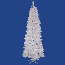 White Salem Pencil Pine 7.5' Artificial Christmas Tree with 350 Multicolored Lights with Stand