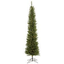 Durham Pole 8.5' White Pine Artificial Christmas Tree with 400 LED White Lights with Stand