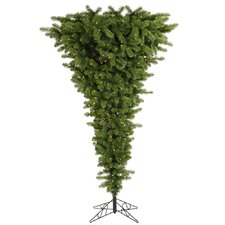 Upside Down 7.5' Green Artificial Christmas Tree with 500 Clear Lights with Stand