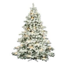 Flocked Alaskan 7.5' White Artificial Christmas Tree with 800 Clear Lights with Stand