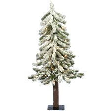 "Flocked Alpine 24"" Artificial Christmas Tree with Clear Lights"