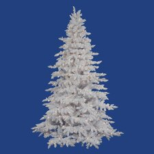 Flocked White Spruce 4.5' Artificial Christmas Tree with 225 LED Warm White Lights with Stand