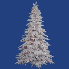 Flocked White Spruce 4.5' Artificial Christmas Tree with 225 LED Multicolored Lights with Stand