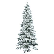 Flocked Utica 9' Green Fir Artificial Christmas Tree with Unlit with Stand